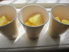 From our fastest, easiest birthday setup ever-- pineapple in cute yellow marbleized paper cups (from #MarthaCelebrations): as after school snacks. #LetsCelebrate
