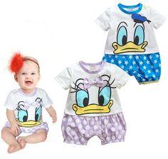 Newborn Bodysuits/Fashion Girl Boy Short Sleeve Rompers/Infant Baby Cute Romper/Donald Duck Daisy Minnie Clothing Set/Retail 1pc US $8.99