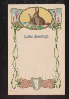 Mouse over image to zoom                                                                                                               Have one to sell? Sell it yourself         Art Nouveau Bunny Rabbits Vintage Antique Embossed Easter Postcard-bbb935