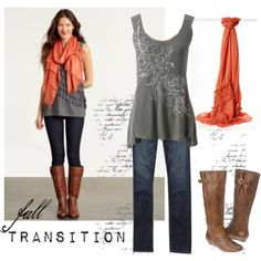 Glitter Tank and orange scarf! Tank top out of stock