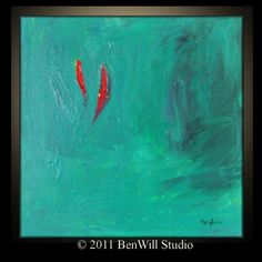 #red and #turquoise abstract painting