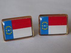 North Carolina State Flag Cufflinks by LoudCufflinks on Etsy, $25.00
