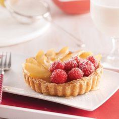 Tartelettes aux poires caramélisées et framboises - Desserts - Recettes 5-15 - Recettes express 5/15 - Pratico Pratiques