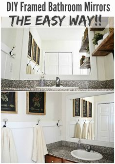 DIY framed bathroom mirrors - THE EASY WAY!! See how to frame your bathroom mirrors to make your bathrooms look amazing & it's so simple! A must pin!!