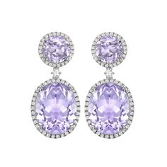 KIKI CLASSICS COLLECTION LAVENDER AMETHYST AND DIAMOND DROP EARRINGS....... ☆£3,700.00☆ A wonderful pair of Lavender Amethyst round and oval-cut stones surrounded by Diamonds set in 18ct white Gold to form the most stunning drop earrings by Kiki McDonough-