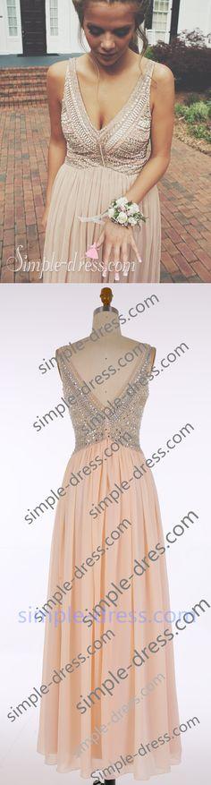 2016 prom dresses, long prom dresses, v-neck prom dresses, long champagne prom dresses, evening dresses