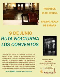 Buenos días amig@s !! Adjuntamos un nuevo folleto con cambio en los días de la Ruta Nocturna.  Para apuntaros: * Facebook, twitter, instagram, pinterest.. * Movil: 640528296 * Correo: destinolebrija@gmail.com * Página Web: www.destinolebrija.com