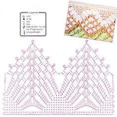 Um blog com tutoriais e inspirações de crochê para decorar e vestir. Crochet Border Patterns, Crochet Diagram, Doily Patterns, Crochet Chart, Thread Crochet, Crochet Motif, Crochet Doilies, Crochet Lace, Crochet Stitches