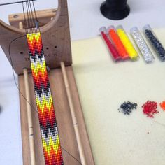 The Fire Rush on the loom. I love the colors on this one, especially paired with the thunderbird design.