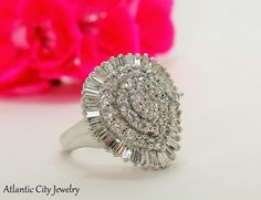 Stunning, 5.00 carat total weight, 14 kt diamond cluster ring. Beautiful piece! Only $1,500