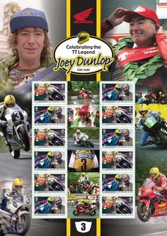 A special stamp sheet celebrating 30 years since Joey Dunlop's first Isle of Man TT win for Honda, just £9.97