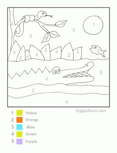 Printable Coloring Page for Color by Number Alligator | Ziggity Zoom (art center)