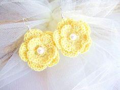 Crochet flower earrings handmade crochet by MalinaCapricciosa, $12.50