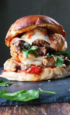 Mega Meatball Sandwich with meatballs loaded with flavor, a sweet San Marzano tomato sauce, and melty Provolone cheese packed in between. Italian Recipes, Beef Recipes, Cooking Recipes, My Burger, Food Porn, Soup And Sandwich, Sandwich Recipes, Love Food, Delish