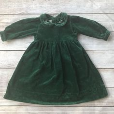 63b5fc585d9 Strasburg Toddler Girl Christmas Dress Green Velvet Long Sleeve Sz 24 Months