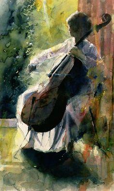 Anna playing the cello - John Lidzey