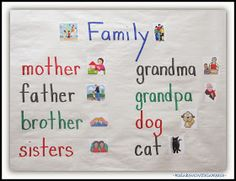 Family Vocabulary Words on an Anchor Chart via RainbowsWithinReach could use our family pictures