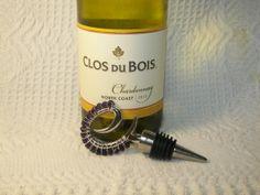 Beaded Wine Stopper Purple Velvet Swarovski Crystal by GagaGems, $15.00