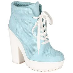 ef8da82dffbb Qupid CB98 Women Suede Perforated Lace Up Lug Sole Chunky Heel... (66