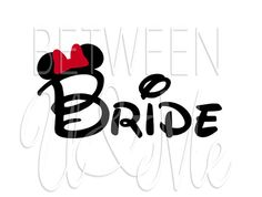Bride with Minnie Ears and Bow Disney iron on for shirt. Cute for active bachlorette party where wearing a tiara isn't feasible