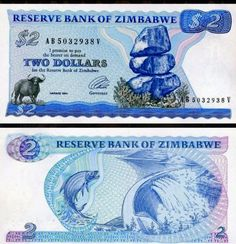 Money Notes, Two Dollars, African Animals, Zimbabwe, Coin Collecting, Ian Smith, Childhood, Water Buffalo, Stamp