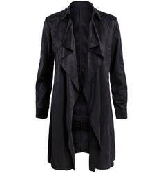 Zwarte suede trench coat