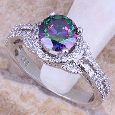 มีค่าสายรุ้งที่สร้างTopazสีขาวCZ 925เงินสเตอร์ลิงสำหรับผู้หญิงแหวนขนาด5/6/7/8/9/10 S0448