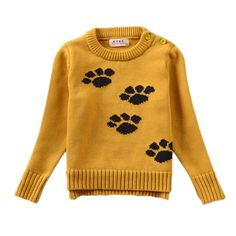 Baby Girl Sweater, Cute Puppy Dog Paws Pullover, Nice knitwear Tops, Infant Winter Clothes.