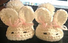 Bunny Slippers | Free Crochet Easter Patterns at Karla's Making It   www.karlasmakingit.com/free-crochet-patterns/free-crochet...  #crafts, #crochet, #Easter, #hat, #baby, #bunny, #chick, #peeps, #basket, #egg