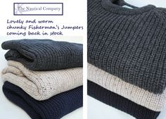 Fishermans Jumper, pure wool, warm & chunky #sailor #nautical #fashion