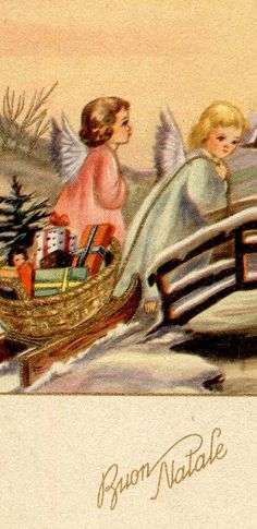 Vintage Christmas Angel Card ~ Peach Z Sky