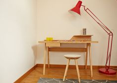 The Cornell desk in ash will add striking mid-century inspired style to any home office or bedroom. Home Desk, Home Office, Office Desk, Desk Space, Mid Century Design, Desk Lamp, Ash, Inspired, Chair