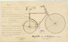 Dessin d'un modèle de vélo déposé au tribunal de commerce de Cherbourg en 1892 | Archives de la Manche, fonds du tribunal de commerce de Cherbourg Cherbourg, Commerce, Images, Plate, Creativity, Sun, Sleeve, Drawing Drawing, Dishes