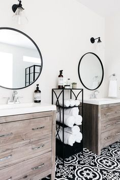 Stunning black and white bathroom with natural wood vanity cabinets. Stunning black and white bathroom with natural wood vanity cabinets. Bathroom Mirror Design, Bathroom Vanities, Bathroom Black, Hall Bathroom, Wood Bathroom, Plum Bathroom, Lavender Bathroom, Master Bathrooms, Black And White Bathroom Ideas