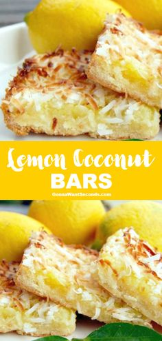 Lemon Coconut Bars, Desserts, *NEW* This recipe for Lemon Coconut Bars is nothing short of refreshing. A tangy, sweet, tropical delight suited perfectly to summer! Lemon Coconut Bars, Coconut Recipes, Baking Recipes, Cake Recipes, Lemon Bars, Sweets Recipes, Coconut Cream, Coconut Milk, Mini Desserts