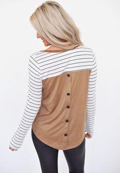 Ivory/Mocha Stripe Button Back Top - Dottie Couture Boutique