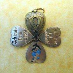 Antique German Art Nouveau Enamel Souvenir of Berchtesgaden Fold Out Heart Charm | eBay