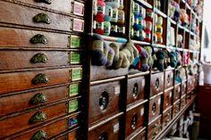 French yarn shop - gorgeous shelving!