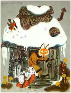 illustration jeunesse russe : Yuri Vasnetsov (ou N. Trepenok ?), cabane, renard, lièvre, hiver