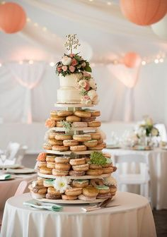 donut cake with cake on top looks cute!