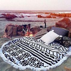 Summer Chic Boho Round Beach Towel