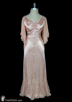 1930s blush pink evening gown or wedding dress, antique art-deco lace and silk charmeuse, sleeveless, jeweled belt buckle