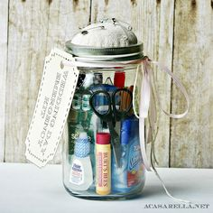 acasarella.net  Mason Jar Wedding Kit, nice idea for a gift, doesn't have to be a wedding gift.