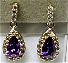 Simulated Purple Diamond (pear) Nickel Free Sterling Silver    $45.00