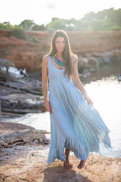 Vintage Blue Maxi Dress in Pure Crinkled Linen by azulsol