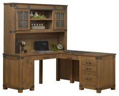Amish Georgetown Corner Desk with Optional Hutch Top Work at a desk you love. The Georgetown Corner Desk mixes rustic and modern for a beautiful combo. Reverse configuration is available for the perfect corner fit. Choose wood, stain, hardware and more. #desks #cornerdesk