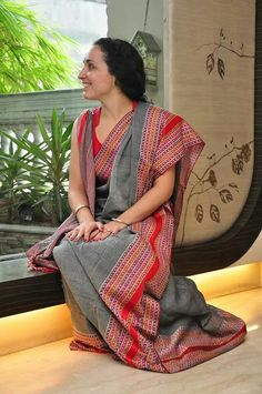Grey cotton saree with woven thread border by ByLoom