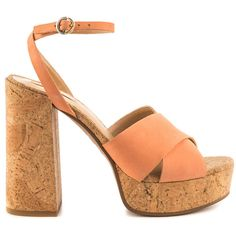 Aldo Women's Rivalgo - Light Pink ($90) ❤ liked on Polyvore featuring shoes, sandals, orange, block heel sandals, platform sandals, platform shoes, ankle strap platform sandals and ankle tie sandals