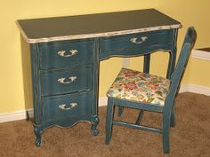 This desk was a piece froma huge french bedroom set I found a while back. I did this one a different color from the others partly because ...