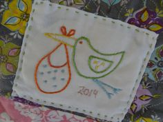 PDF embroidery pattern for quilt label. Baby quilt label. Stork. Instant download by BethShibley on Etsy